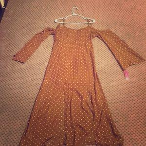 Mustard/white polka dot cold-shoulder maxi dress
